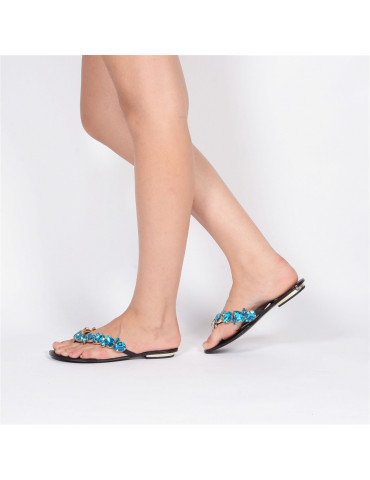 sandale à talon large double bouclemarron