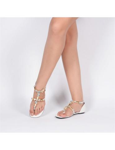 sandales plates multicolore métalisées