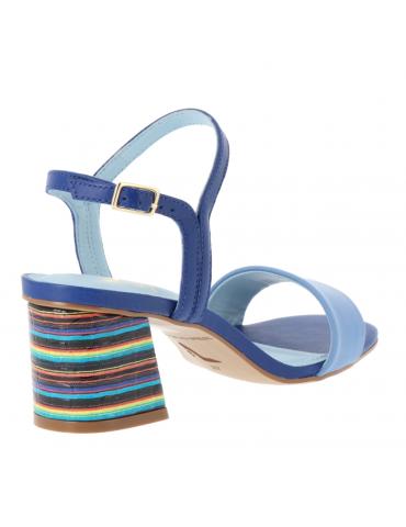 peep toe semelle compensée - bleu royal