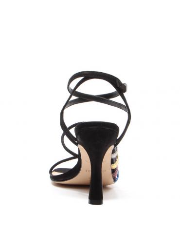 sandale à petit talon large - noir/blanc cassé
