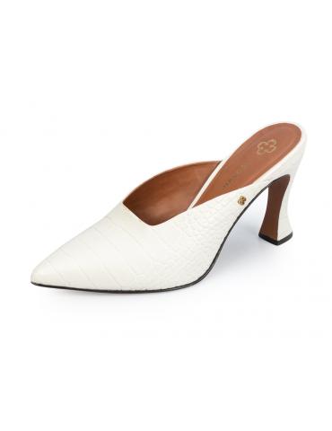 chaussures compensées avec lien cheville - noir et blanc