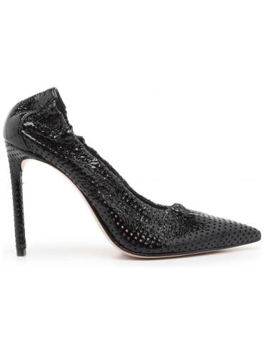 sandales talons larges - noir et blanc