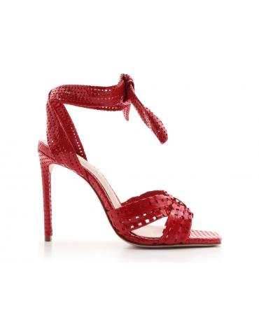 sandales cuir et pierres - rouge