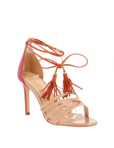 sandales lanières avec noeuds bout pointu