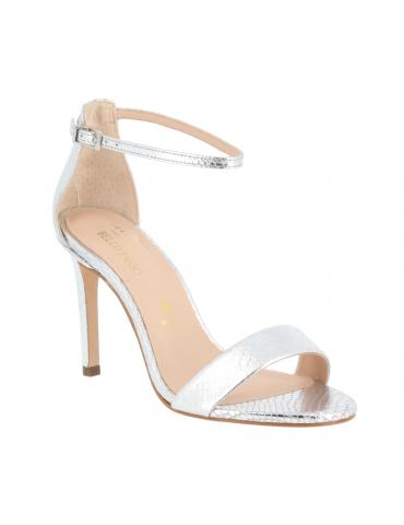 sandales à talons cuir ajouré au laser - blanc