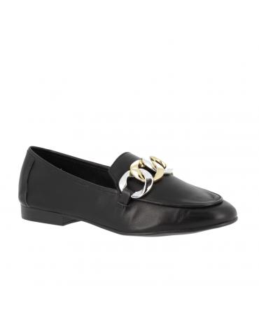 sandales à petits talons cuir drapé noeud - noir