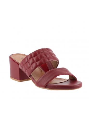 sandales à talons bouts pointus motifs métal - rouge