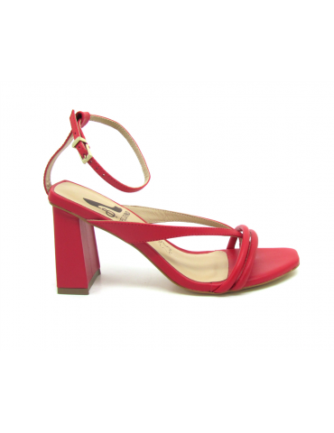 sandales talons carrés petits 1/2 sphères - rouge