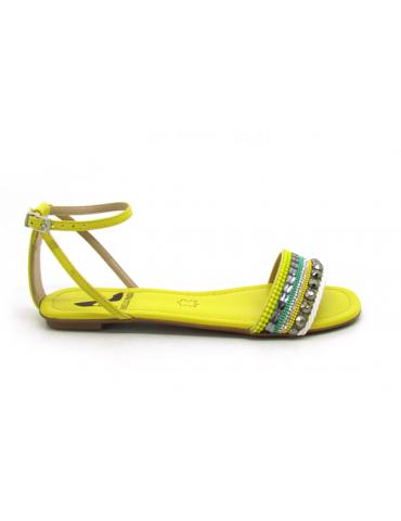 sandales petits talons carrés laçage cheville - blanc