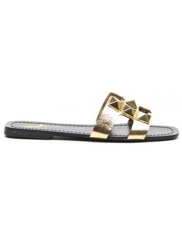 sandales à petit talons carrés, lanières tressées