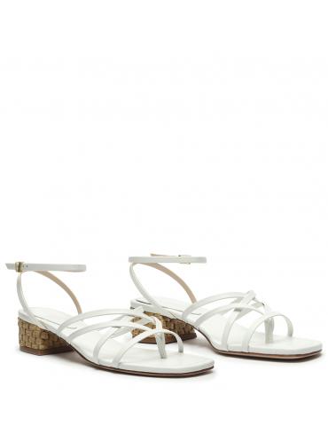 sandale haut talon carré et pierres - Blanc et tapisserie