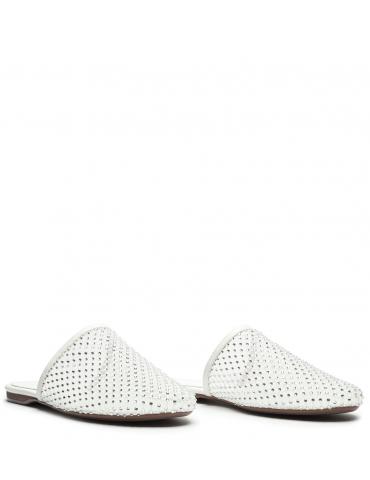 escarpins jb confort ornés d'un bijou métallique - Beige et blanc