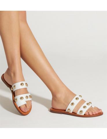 sandale à talon compensé - blanc