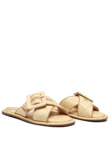 sandale à talon avec franges sur le dessus du pied - kaki