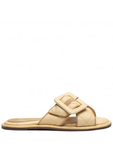 sandale à talon avec franges sur le dessus du pied - camel