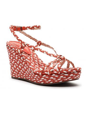 sandales à talons cuir drappé - rosegold