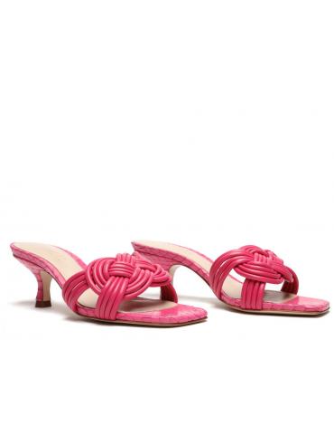 sandales à talons bride avant fine - rouge écarlate