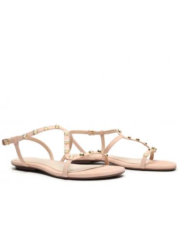 sandales gros talons brides larges - beige clair