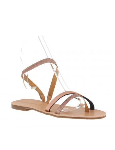 sandales talons carrés hauts brides larges - blanc et noir