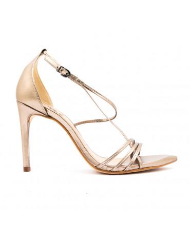 sandale à talons inserts métal - beige