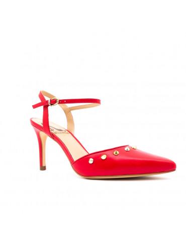 sandales ouvertes petit talon - rouge vif