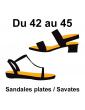 grandes pointures sandales plates/savates